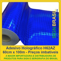 Adesivo holográfico H62AZ - Azul - 0,60m x 100m