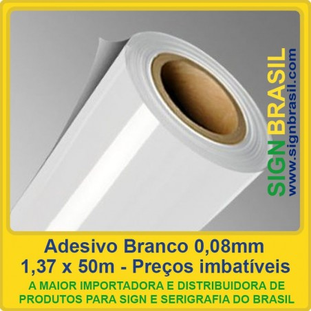 Adesivo Branco 0,08mm - 1,37m x 50m