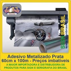 Adesivo Metalizado Prata com liner